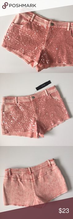 """Do & Be Pink Sequin Shorts NWT!! Do & Be brand pink faded shorts with sequins on the front! Brand new with tags still attached! Waist about 14 1/2"""" laying flat, about 9"""" long, inseam 2"""". 97% cotton and 3% spandex. Has pink and white colors. Great condition! NO TRADES. Do & Be Shorts"""