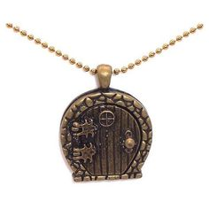 Fantasy Brass Door Keepsakes The Hobbit Locket Keeps Your Secrets... ❤ liked on Polyvore featuring jewelry, necklaces, accessories, brass locket, locket necklace, locket jewelry, brass locket necklace and brass necklace