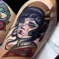 Geisha featuring an intense bike short tan line 😂 thanks Rich, always a pleasure! Japanese Tattoo Meanings, Japanese Tattoo Women, Japanese Tattoo Art, Japanese Sleeve Tattoos, Japanese Drawings, Japanese Prints, Shell Tattoos, Top Tattoos, Unique Tattoos