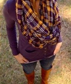 great shade of purple sweater with plaid scarf! casual, relaxed look!