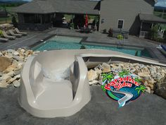 Hey Mom! Can I ride?!?! Here is another inviting view of Paradise Slides, inc. #PoolSlide Model PS45R-S in CLAY. What a Beautiful project by Countryside Nursery. #Waterslide #BackyardSlide Water Slides, Pool Slides, Backyard Slide, Can Design, My Ride, Countryside, Swimming Pools, Paradise, Nursery
