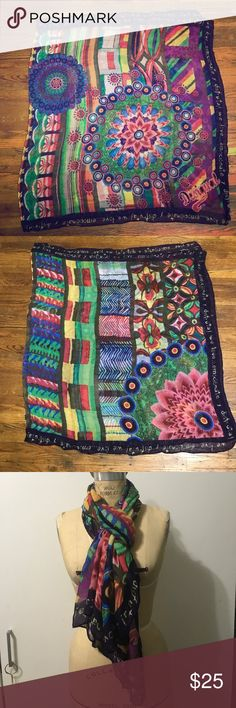 Desigual long Scarf/ wrap New authentic Desigual Scarf that you can wear into a layer! Beautiful colors very vibrant great on any occasion! Length: 72in width: 36in Desigual Accessories Scarves & Wraps