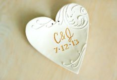 Personalized Monogram wedding ring dish heart by Dprintsclayful