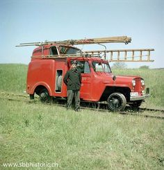 ☆MG☆Swiss rail road inspection Willys Jeep has an interesting body for easy swapping of rail rims to street tires --- Switzerland Swiss Rail, Work Train, Rail Car, Rolling Stock, Jeep Cars, Train Layouts, Fire Engine, Model Trains, Old Cars