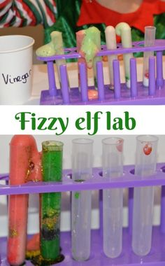 Christmas Science - Fizzy Elf Laboratory - Science Experiments for Kids Fun Activities For Preschoolers, Preschool Science Activities, Science Experiments Kids, Science For Kids, Stem Science, Christmas Crafts For Kids To Make, Christmas Activities For Kids, Preschool Christmas, Kids Crafts