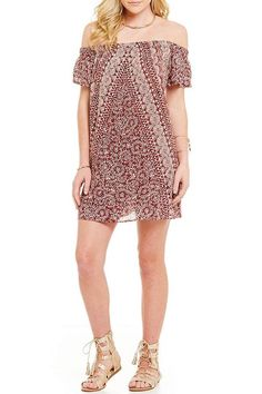 Game Day Dresses: Off-The-Shoulder Printed Dress by Angie