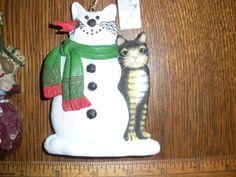 Christmas-ornaments-Kurt-Adler-cat-dog-snowman-cat-Stouffer-set-of-2-NICE