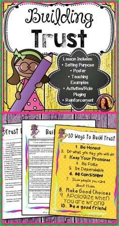 Everything you do helps to gain or lose trust with others. Use this lesson, activity and poster to teach students ways that they can build trust in the classroom and with their friends! Trust Building Activities, Group Therapy Activities, Building Games For Kids, Counseling Activities, School Counseling, Kindergarten Activities, Activities For Kids, Teamwork Activities, Kids Therapy