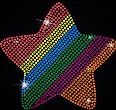 2pc lot Star rainbow pattern designs iron on transfer hot fix rhinestone  rhinestone iron on 962bbd45ac5c