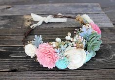 Boho Bridal Flower Crown, Sola Flowers, Succulents, Flower Girl, Wedding Hair Accessory, Bridal Portraits, Maternity Photo, Bespoke Bride, CuriousFloral