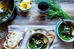 Quick to pull-together, hearty and nourishing. Lemon-Garlic White Bean, Kale and Fennel Soup makes a cozy weeknight meal. Lentil Recipes, Healthy Soup Recipes, Gluten Free Soup, Vegan Gluten Free, Low Sodium Soup, Pulses Recipes, Fennel Soup, Veggie Soup, White Beans