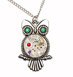 Tibetan Silver Steampunk Owl Pendant Necklace. Hand Made in Cornwall, UK by thelongwayround on Etsy