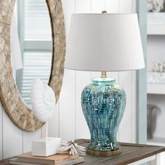 Buy Asian Table Lamp Ceramic Teal Glaze Patterned Temple Jar White Empire Shade for Living Room Family Bedroom - Possini Euro Design Teal Living Rooms, Living Room Decor, Living Area, Chandeliers, Asian Table Lamps, Ginger Jar Lamp, Contemporary Table Lamps, Modern Table, Rustic Lamps