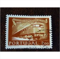 Portugal 1956 Portuguese Railways electric locomotive 2e fine used stamp SG1138