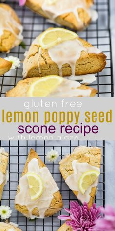 Gluten Free Lemon Poppy Seed Scones made in a food processor then drizzled with an easy sweet Lemon Glaze. Hands down the BEST gluten free flaky scone recipe you'll ever make! These Lemon Poppy Seed Scones are perfect for Easter or Mother's Day Brunch. Poppy Seed Scones Recipe, Lemon Poppy Seed Scones, Lemon Recipes, Baking Recipes, Dessert Recipes, Healthy Desserts, Free Recipes, Healthy Breakfasts, Easter Recipes