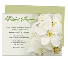 Purity Bridal Shower Invitation Templates editable with Word, Publisher, Apple iWork Pages, OpenOffice. Print yourself or take anywhere to get printed!