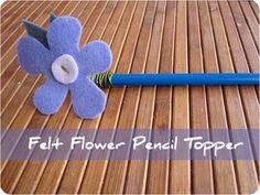 Kids Craft. How to: Felt flower pencil topper.