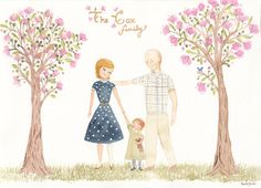 8x10 Custom Family Portrait by ThePetitePearArt on Etsy