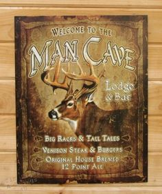 Vintage Replica Tin Metal Sign poster Welcome to our Hideout Man Cave Cabin 1948