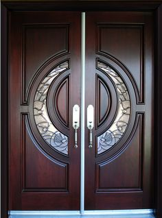 BGW Mahogany Wood Door Unit - traditional - Front Doors - Other Metro - Global Entry Doors Double Door Design, Main Door Design, Wooden Door Design, Front Door Design, Wood Entry Doors, The Doors, Wooden Doors, Main Entrance Door, Office Entrance