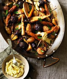 Winter root vegetables roasted in goose fat
