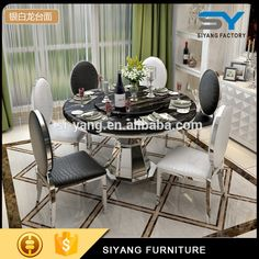 Classic european style marble dining table set CT012