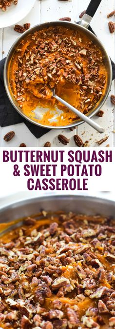Topped with candied pecans, this healthy and easy Butternut Squash Sweet Potato Casserole is the perfect side dish for the holidays. (gluten free, vegetarian, paleo)
