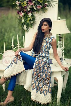 Stunning designer straight suit in electric blue and cream. Love the bold kurta design! #indian #wedding
