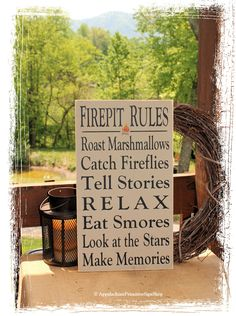 Firepit Rules Sign Typography -Wood Sign- Outdoor Decor Firepit Decoration Family Bonfire Sign Housewarming Gift Summer Decor by AppalachianPrimitive on Etsy
