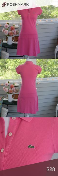 Lacoste Pink Polo Dress This pink Lacoste polo dress features capped sleeves and a drop waist. EXCELLENT condition. Size: 36 (Small/4 according to US size charts). Lacoste Dresses