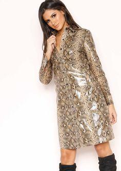 dcbfd311 Missyempire - Kat Snake Print PU Shirt Dress Snake Print, Shirt Style