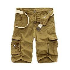 be48a8e44a Cargo Shorts Men Cotton Loose Outwear Tactical Short Pants No Belt