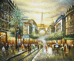 """Beautiful Wholesale Wall Decor Painting Streetscape, Size: 24"""" x 20"""", $83. Url: http://www.oilpaintingshops.com/beautiful-wholesale-wall-decor-painting-streetscape-1885.html"""