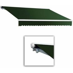 Beauty-Mark by Awntech Galveston Semi-Cassette Left Motor with Remote Retractable Awning, 14 ft.W x 10 ft.Proj, Green