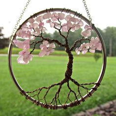 Rose Quartz Wire Tree of Life Wall Hanging by HomeBabyCrafts
