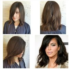 Who's your #hairstyle #inspiration? Everyone's loving Kim Kardashian's short look! Here's our Advanced Designer Adriana's client Julia with her new long bob.