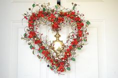 Red Heart wreath red roses Valentines Day by laurelsbylaurie