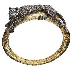 Siyabona Gold Medium Panther Hinge Bracelet::Bracelets::Elements::Collections::Alexis Bittar