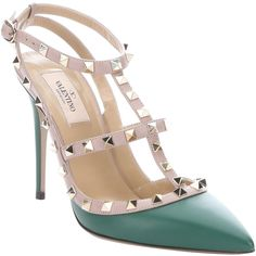 Valentino Green And Pink Leather 'rockstud' T-Strap Pumps (384540201) (3.055 BRL) ❤ liked on Polyvore featuring shoes, pumps, green pumps, pink shoes, pink pointy toe pumps, ankle strap pumps and leather shoes
