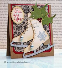 Card with Skates: The ice skate blades were cut from American Crafts glitter paper. The skates are lace with twine using a needle, & tiny silver bells from the Netherlands were attached / A Blog Called Wanda