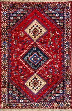 "Yalameh Persian rug, hand-knotted, Iran. Wool. 3' 5"" x 5'."