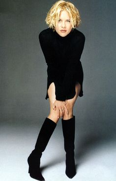 Meg Ryan's LBD with cute knee high boots. I would wear this outfit.