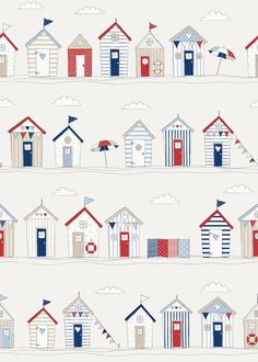 Beach Huts Blue Fabric by Fryetts Fryetts Beach Huts Blue - British Made InteriorsFree Graphic Friday - Kostenlose Vektorkranzgrafik - Connis Ra. Beach Huts Art, Oilcloth Tablecloth, Diy Y Manualidades, Made To Measure Curtains, House Drawing, Roman Blinds, Blue Fabric, Cotton Fabric, Quilts