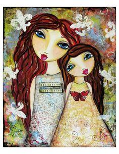 Celebrate Motherhood Fine Art Print of Mixed Media painting