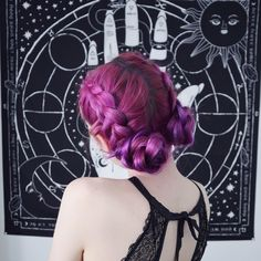 looking mystical and magical in braided magenta buns- try our Mercury Pack for a similar look! Bright Hair Colors, Different Hair Colors, Fall Hair Colors, Eye Colors, Messy Bob Hairstyles, Pretty Hairstyles, Plum Purple Hair, Violet Hair, Bronze Hair