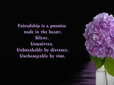 Friendship is a promise made in the heart. Unbreakable by distance ...