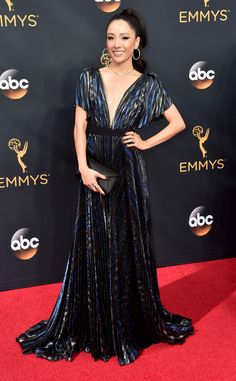 2016 Emmys: Constance Wu is wearing a blue J. Mendel gown with flecks of gold! Gorgeous dress on Constance!