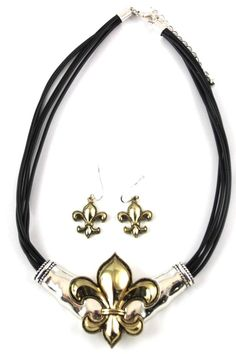 """Fleur de lis slide embossed gold & silver matching french wire earrings.    Measures: 20"""" L   Fleur-De-Lis Necklace Earrings by Diane's Accessories. Accessories - Jewelry - Necklaces Alabama"""
