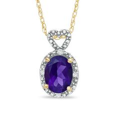 Oval Amethyst and Diamond Accent Frame Pendant in 10K Gold - View All Necklaces - Zales