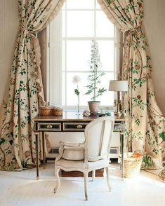 Curtains Diy Bedroom lace curtains with drapes.Ikea Curtains Velvet gray curtains with valance. Window Coverings, Window Treatments, Cortina Floral, Home Office, Closet Office, Room Closet, Office Spaces, Decoration Design, Drapes Curtains